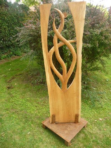 Eichenstehle 170 x 50 cm, Sockel aus Edelstahl / Rostpatina 1100€