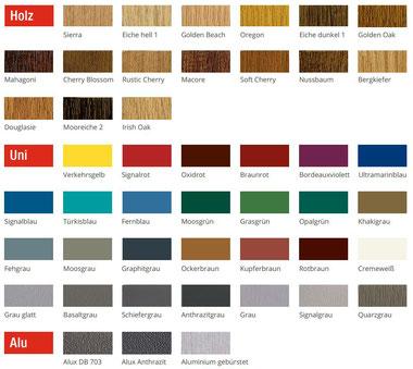 Farbpalette für REHAU Kunststofffenster