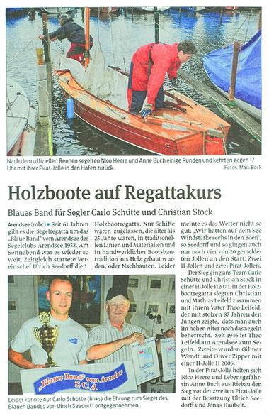 Bericht der Volksstimme über das Blaue Band und die Holzbootregatta 2016