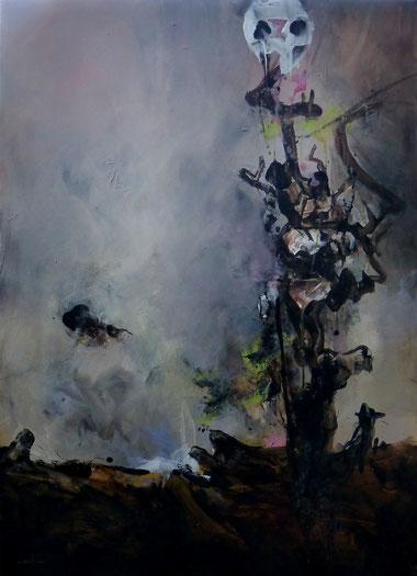 """""""l'arbre à cranes"""" Acrylique sur toile Dim 130cmx95cm"""