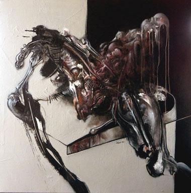 Acrylique/pastel sur toile Dim: 100cmx100cm