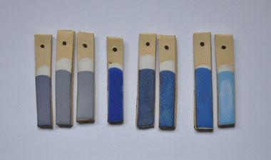 échantillons tests expérimentations émaux grès bleu