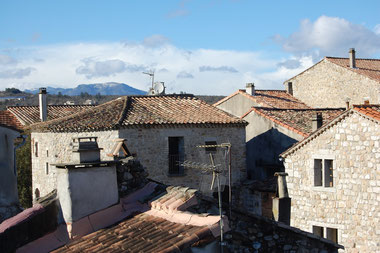 View of old Ruoms roofs