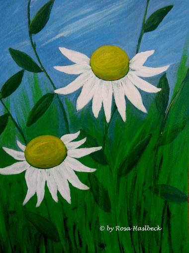 Acrylbild, acryl, blumen, blumenbilder, sonnenhut, weiß, gelb, grün, blau, bilder, bild, malen, malerei, kunst, deko, dekoration, wandbild, abstrakt
