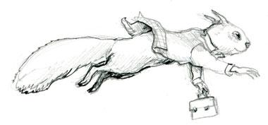 Eichhörnchen Eilig Bleistiftzeichnung © Caroline Ronnefeldt