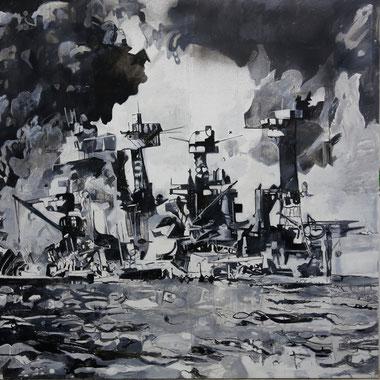 """""""Pearl Harbor"""", Acryl/Öl auf Leinwand , 180 x 180 cm, 1997"""