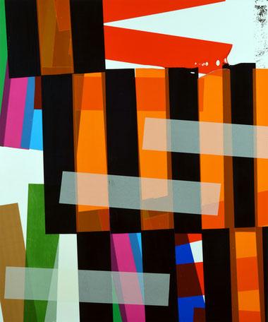 Série de collages artistiques de l'artiste Laurent Valera en ruban adhésif coloré.