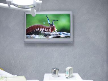 Zahnarztpraxis Dr. med. dent. Alina T. Ioana. Bildschirm als Ablenkung für Angstpatienten und Kinder.