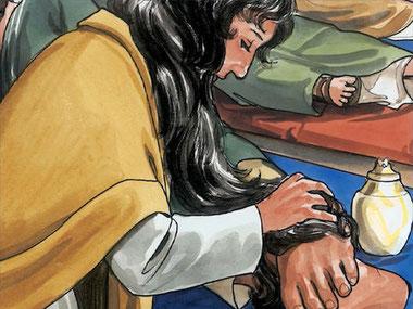 Marie, la sœur de Lazare, à Béthanie, verse sur les pieds de Jésus Jésus un demi-litre d'un parfum de nard pur très couteux puis les essuie avec ses propres cheveux. Judas Iscariote s'en irrite.