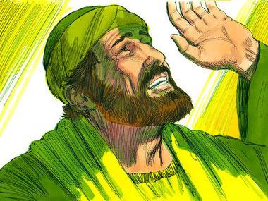 Alors que Saul de Tarse s'approche de Damas afin d'y persécuter les chrétiens, une lumière aveuglante resplendit, Saul et ceux qui l'accompagnent entendent une voix qui les laisse muets de stupeur.