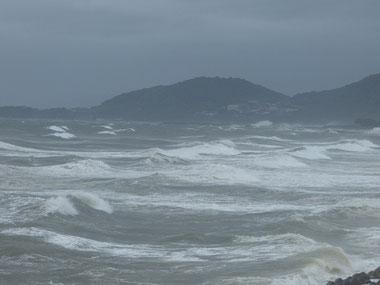 ご飯から戻って、ちょうどその頃、台風が鹿児島横を抜けて風向きが変わり南西寄りの風がかなり強くなって海は一気にクローズでした(ー_ー)!!