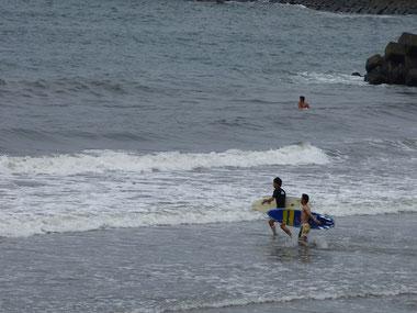 ヤング2人仲良く小走りに入水していきました(笑)