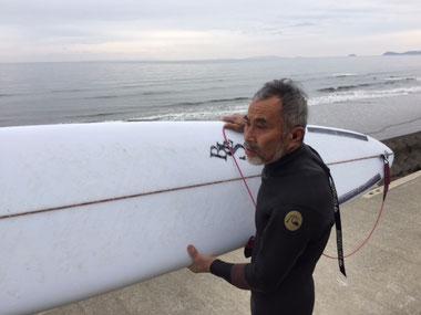 小波用のボードとフィンのテスト。