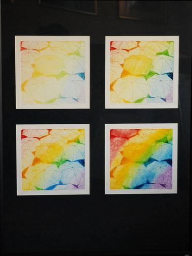Linienätzung, Aquatinta  4 mal  Druckformat 19,3 x 19,3 Pp. 60x80