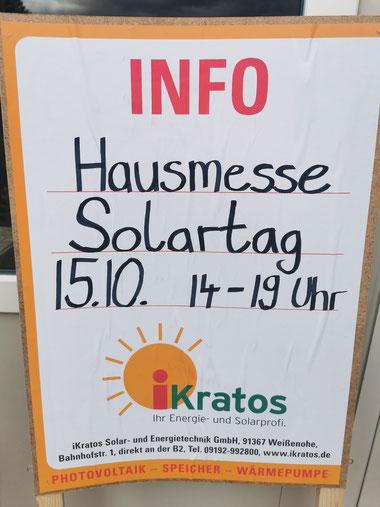 """Aufsteller iKratos Hausmesse """"Solartag 15.10.2021 14-19 Uhr"""""""