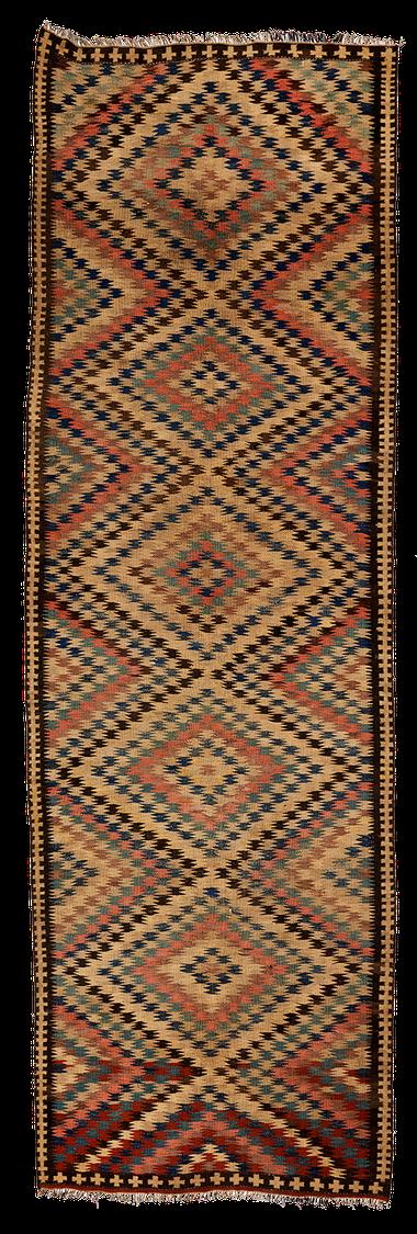 Teppich. Zürich. Semi-antique Kilim from Veramin, Iran. Handgewebter Teppich, Kelim, Persia.
