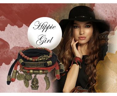 wickelarmband schwarz braun bronze Hippie Girl