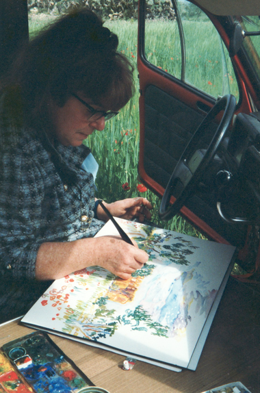 While painting in the mobile studio, 1994