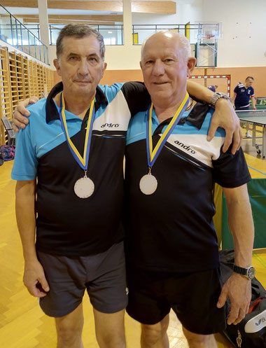 Siegfried Föllerer und Erwin Kohl nach der Siegerehrung in Mistelbach.