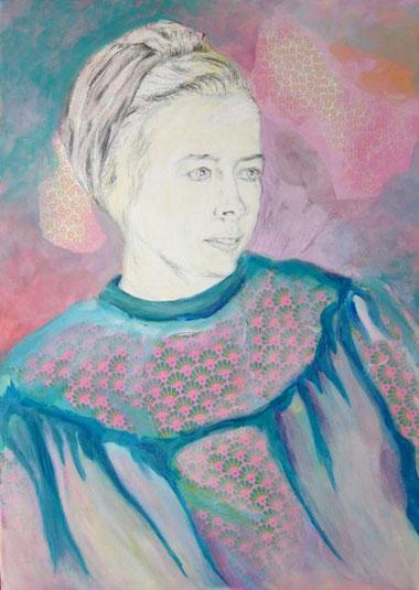 Papier, Bleistift, Acryl auf Leinwand, 50 x 70cm, 2014
