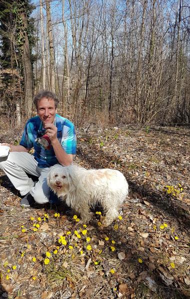 Ich mit meinem Hund auf der schönen Schwäbischen Alb