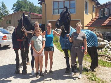 Sandra Plasser, Sophie Markowitsch, Melanie Markowitsch mit Friesenstuten Aamina und Clea