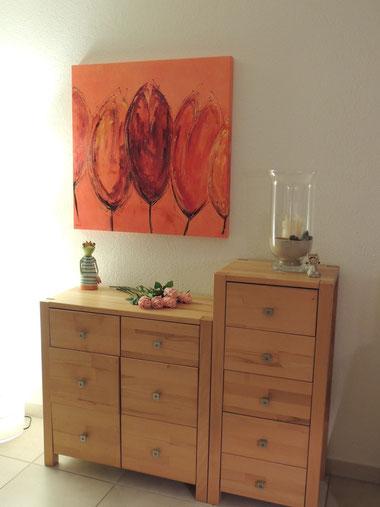 Bild an seinem Platz, Acryl, orange, Tulpen, interferenzfarben