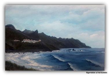 Meereslandschaft - Landschaftsmalerei von dem Küstendorf Taganana, Acrylbild online kaufen.