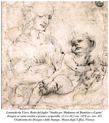 Leonardo da Vinci_Studio per Madonna del gatto_Gabinetto dei Disegni e delle Stampe degli Uffizi di Firenze