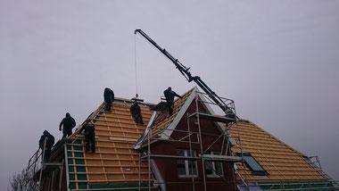 Rucksack wurden die Ziegel auf unser Dach gehoben