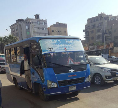 The little blue minibus that took us from the Metro to near the Pyramid entrance