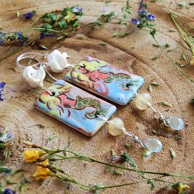 zeemeermin oorbellen van keramiek, handgemaakte unieke fantasy sieraden