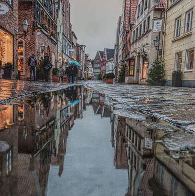 Lüneburger Altstadt nach dem Regen