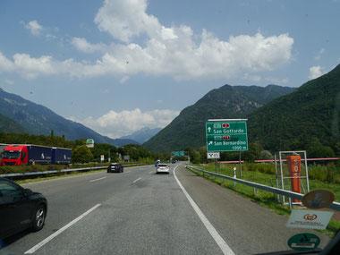 Auf der A2 kurz vor Bellinzona... Gotthard? Bernardino?