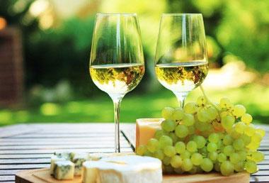 Verres de vins Sauvignon avec grappe de raisin