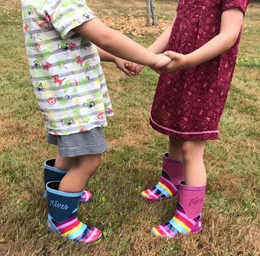 """©Rouchette - Bottes pour enfants """"Rêves"""" en coloris bleu et rose"""