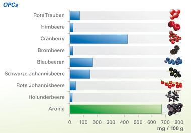 OPC Werte diverser Beeren