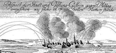 Das brennende Küstrin (Ausschnitt aus einer historischen Postkarte)