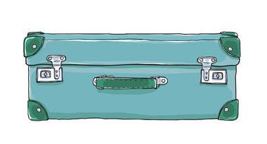 Blauer Koffer mit grünen Ecken, einem grünen Griff und zwei Schlössern.