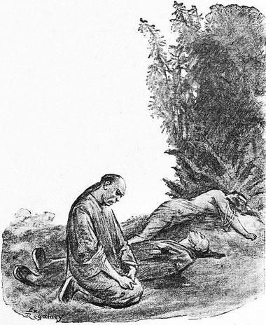 Après le crime. René de Pont-Jest : Le Fleuve des Perles (L'Araignée-Rouge). Émile Dentu, Paris, 1889, 420 pages, 197 dessins par Félix Régamey.