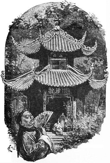 Villa et jardins. René de Pont-Jest : Le Fleuve des Perles (L'Araignée-Rouge). Émile Dentu, Paris, 1889, 420 pages, 197 dessins par Félix Régamey.