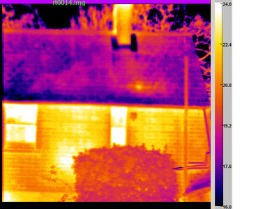Thermal image of a house light areas show greatest heat loss temp scale on RH edge. PLEASE NOTE Our thermal property surveys do not employ thermal imaging. The photo is in use to illustrate the point.