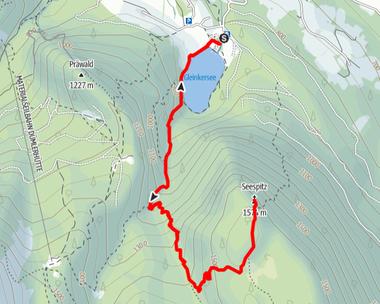 Routenverlauf vom Gleinkersee durch den Seegraben auf den Seespitz
