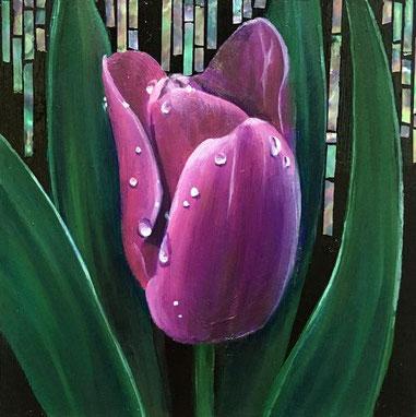 松尾彩加「雨上がりの紫」油彩・貝 100x100mm