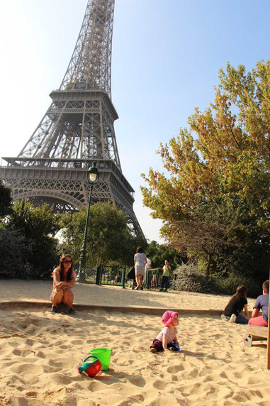 Travel with a baby to Paris - playground in the shadow of the Eiffel Tower