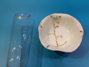 金継ぎ シャンパングラス 小皿