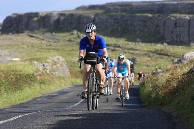 Cycling in Burren Co Clare during the Skyride Etape Hibernia.