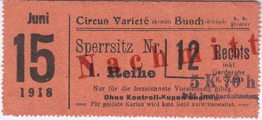 Circus Varietße im Buschgebäude 1918