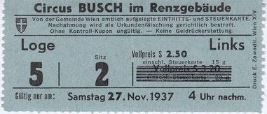 Circus Busch im Renzgebäude 1937