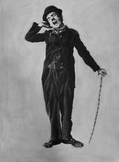 Charles Chaplin Charlie painting black white acrylic painting on canvas
